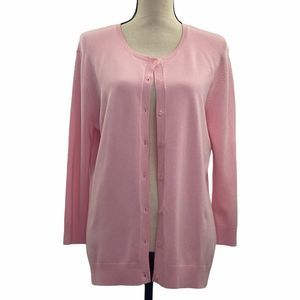 Willi Smith Pink Long Sleeve Button Down Cardigan